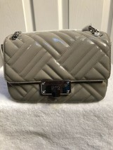 Michael Kors PEYTON Quilted Patent Leather Shoulder Flap Bag Pearl Grey  Medium - $135.00
