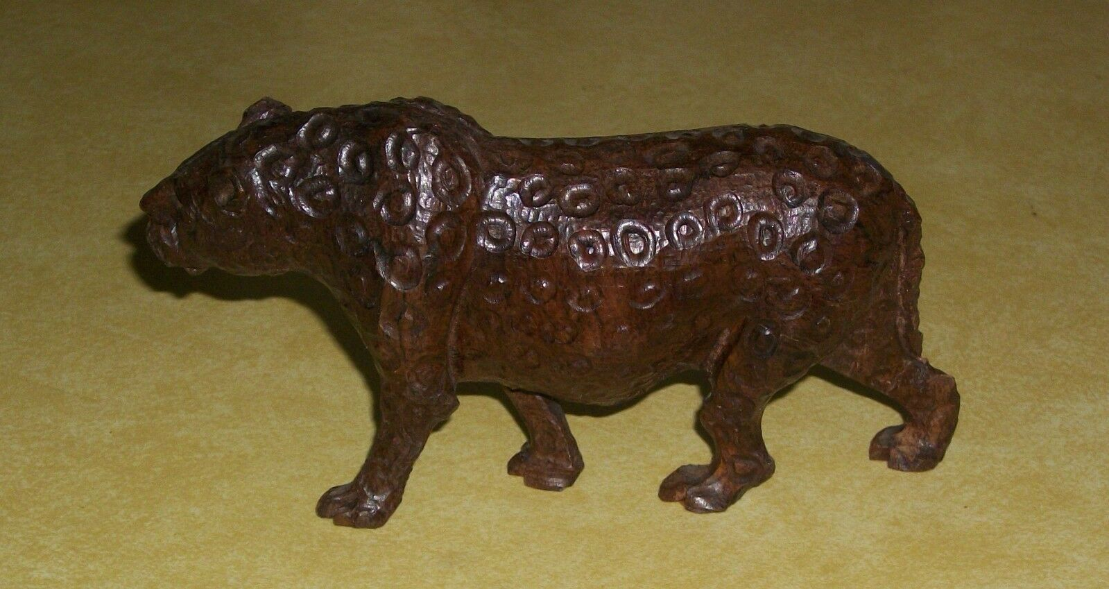 HAND CARVED WOOD CARVING LEOPARD JUNGLE CAT WOODEN FIGURE MPINGO KEREWE FOLK ART