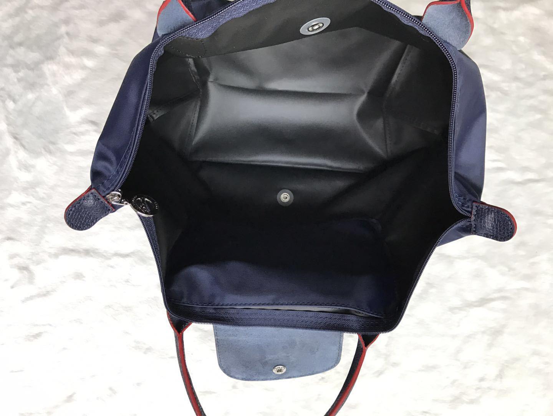 Longchamp Club Collection Horse Embroidery Short Handle Medium Handbag Navy Blue