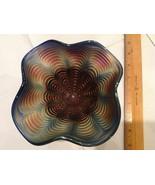 """5"""" Cobalt Blue Iridescent Carnival Compote Pedestal Stemmed Bowl Glass I... - $90.15"""