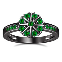 Round Cut Green Sapphire 14K Black Gold Fn. 925 Sterling Silver Engagement Ring - £52.92 GBP