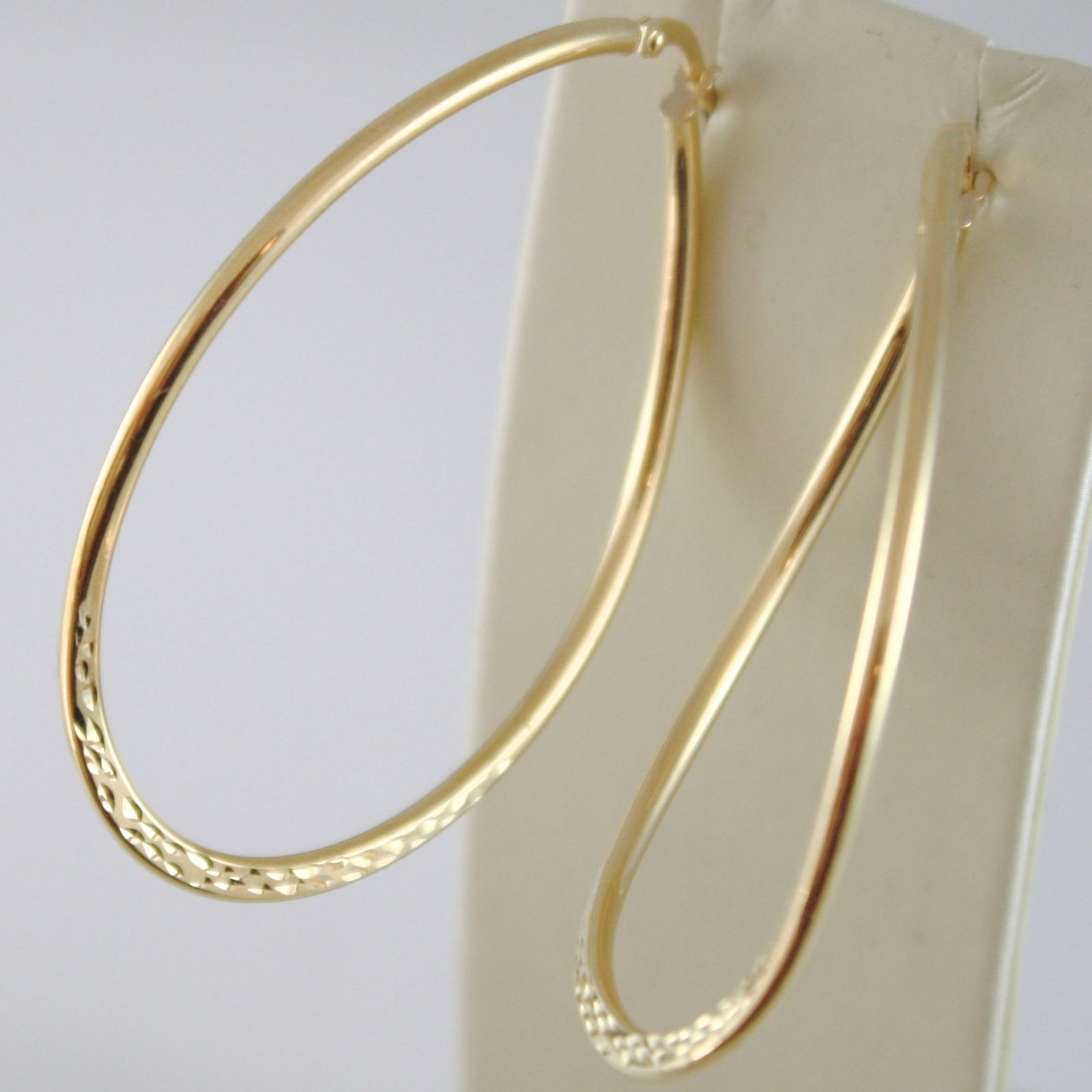 YELLOW GOLD EARRINGS 750 18K IN CIRCLE, OVALS, 5.5 CM, WAVY AND HAMMERED