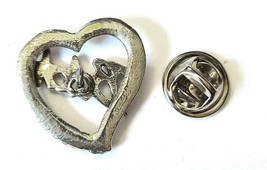Bitch Word Heart Fine Pewter Brooch Pin - Approx. 1 Inch Tall (T194) image 2