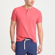 New J CREW Mens Small Casual Short Sleeve Pique Cotton Henley Shirt Salm... - $31.14