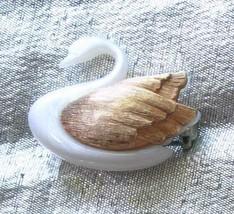 "Avon Elegant White Moonstone Lucite Gold-tone Swan Brooch vintage 1 1/8"" - $14.20"