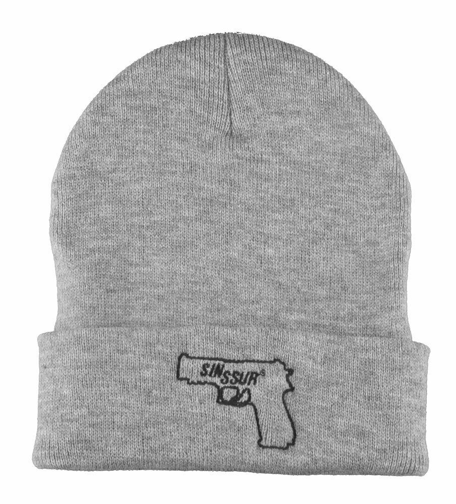 SSUR New York NY SIN Black or Grey Gun Fold Over Cuff Beanie Winter Hat NWT