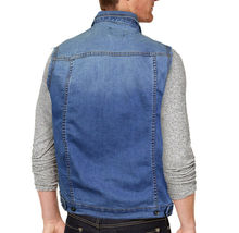 CS Men's Ripped Distressed Button Up Denim Jean Vest Removable Hood Slim Fit image 10