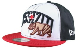 Dissizit New Era Fitted 59Fifty white/red/black Collegiate CALI Bear Hat Cap image 2