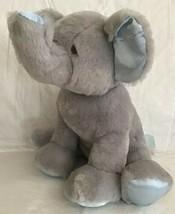 "BABY GUND Gray & Blue PLUSH ELEPHANT Chime Rattle Lovey Toy Stitched 10""... - $15.83"