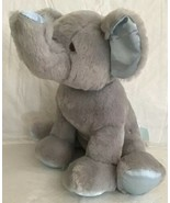 "BABY GUND Gray & Blue PLUSH ELEPHANT Chime Rattle Lovey Toy Stitched 10""... - $15.83"