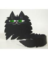 Black Cat Metal Free Form Green Eyes Wrap Tail Artist Marta Kitty Feline... - $12.82