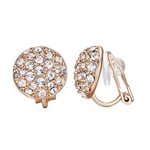 yoursfs Circular Rose Gold Clip Earrings for Women with Round Austrian C... - $11.54