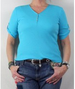 Lauren Ralph Lauren New Blouse L Petite LP size Blue Vneck Stretch Fitte... - $21.52