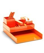 Poppin All Set 12-Piece Desk Collection Orange Dorm Office Home Organizer - $26.63 CAD