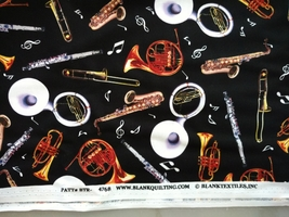 1/2 yard music/instruments/sax/horns/flute on black quilt fabric -free shipping image 5