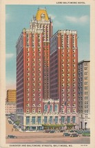 Lord Baltimore Hotel Hanover and Baltimore Street Maryland Linen Postcard - $5.00