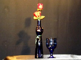 Blue Cat Stem Vase and Wine Glass AA19-1584 Vintage image 1