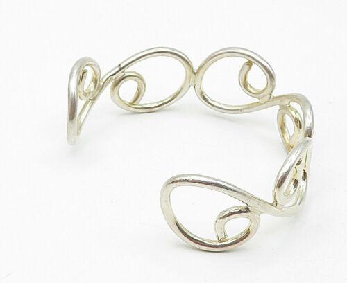 925 Sterling Silver - Vintage Open Swirl Designed Smooth Cuff Bracelet - B5500