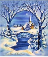 Church Snow Covered Trees Winter Scene Vintage Image - $5.98 CAD