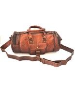Large Brown Men Luggage Leather Travel Shoulder Bags Duffle Gym Bags Tote Bag - $59.05