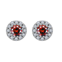 1.30 Cttw Round Garnet & Diamond Halo Stud Earrings 925 Silver 18k White... - $58.65