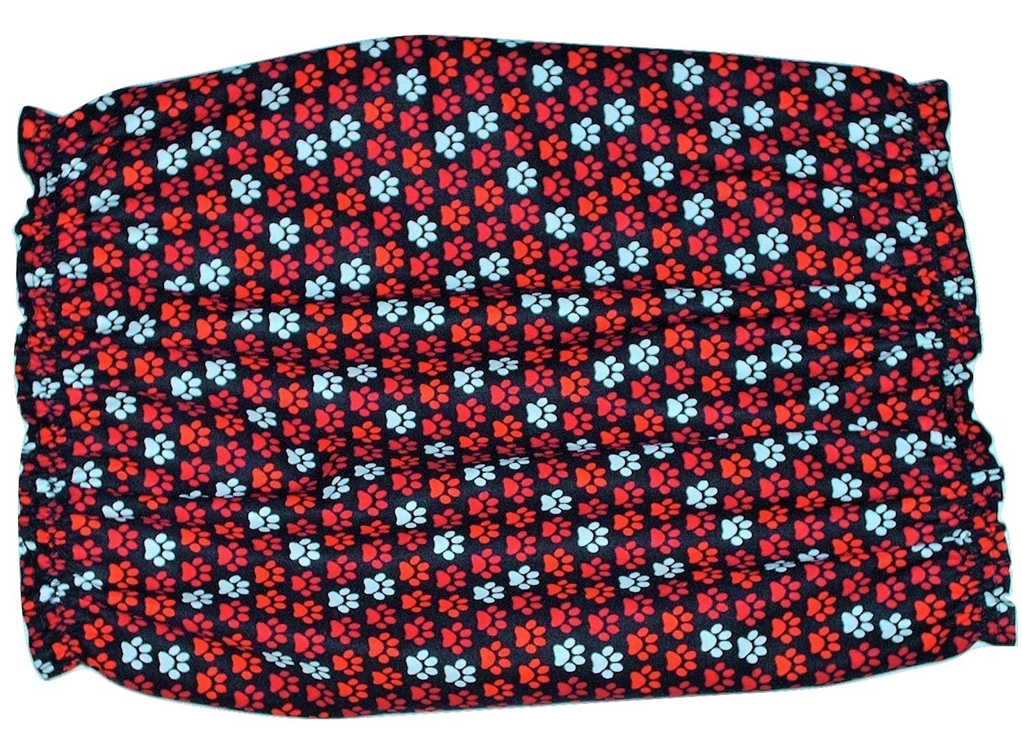 Handmade Dog Snood Black with Red White Paw Prints Cotton Size Large