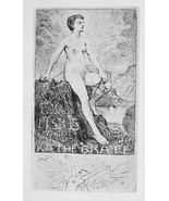 NUDE EX LIBRIS Young Woman Sitting on Rocks River Cliff - 1922 Lichtdruc... - $10.12
