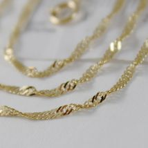 SOLID 18K YELLOW GOLD SINGAPORE BRAID ROPE CHAIN 16 INCHES, 2 MM MADE IN ITALY  image 4