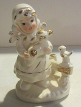 Vintage girl with animals - gold accent lefton ? - $18.95