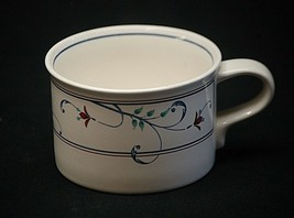 """Annette by Mikasa 2-3/8"""" Flat Cup Coffee Tea Intaglio Red Flowers Blue Scroll - $8.90"""