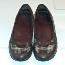 Skechers Slip On Mary Janes Brown Plaid Womens Sz 7 - $12.82