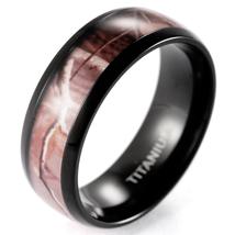 Brown Real Tree Camo Ring Men's Domed Titanium Outdoor Camo Wedding Bands - $18.90+