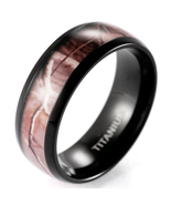 Brown Real Tree Camo Ring Men's Domed Titanium Outdoor Camo Wedding Bands - $18.90+