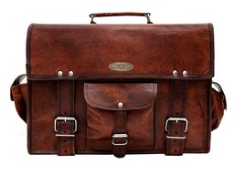 New HANDMADE Real Brown Leather Vintage Retro Mens Laptop Bags - $64.35
