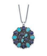 PalmBeach Simulated Turquoise and Blue Lapis Antiqued Silvertone Necklac... - £32.79 GBP