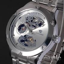 New Silver Skeleton Analog Mens Mechanical Automatic Wrist Steel Band Wa... - $38.02