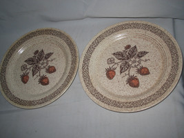 2-pc Homer Laughlin STRAWBERRY speckled brown  Salad Plate - $13.19