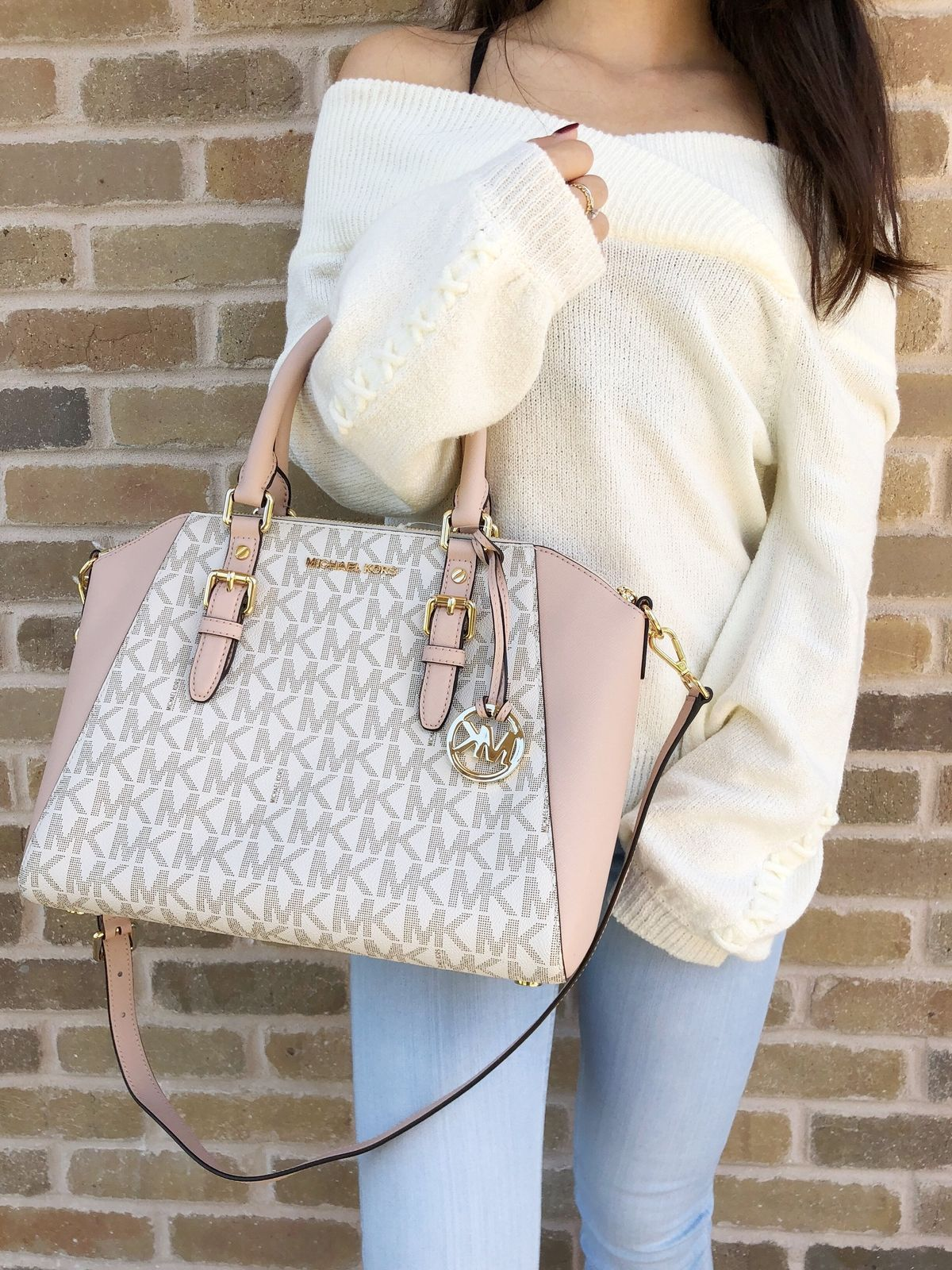 481aecc88c36d8 NWT Michael Kors Ciara Large Top Zip Satchel Vanilla Signature MK Ballet  Pink