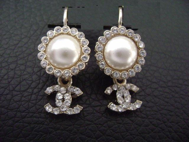 Authentic Chanel CC Logo Pearl W/ Crystal Simple Dangle Hook Earrings