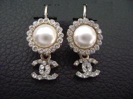 Authentic Chanel CC Logo Pearl W/ Crystal Simple Dangle Hook Earrings image 1