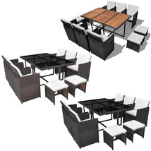 Patio Rattan Dining Set Outdoor Furniture Table 6 Chairs 4 Stools Black/... - $582.99