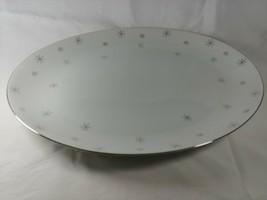 "16"" Serving Plate Platter Japan Snowflake Platinum Atomic Stars Silver G... - $59.99"