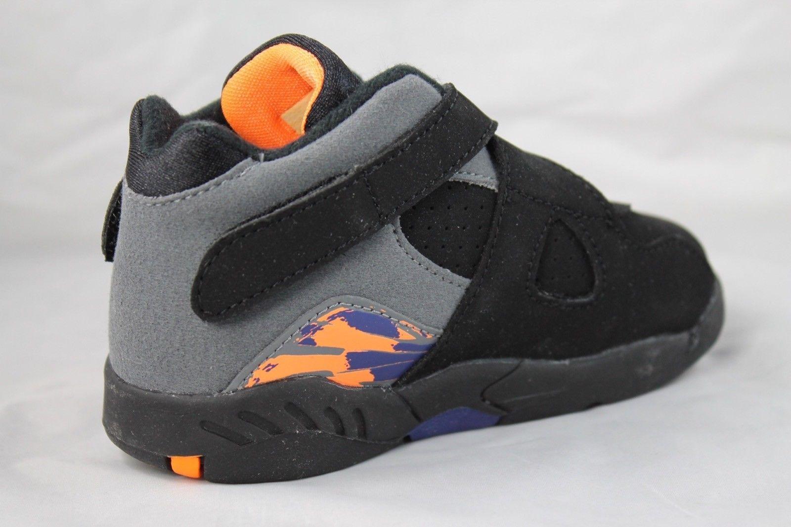 best cheap 8b1f7 60939 NIKE Air Jordan 8 Retro (TD) Black Bright Citrus Cool Grey Shoes 305360