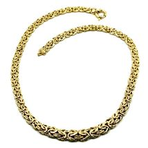 """18K YELLOW GOLD FLAT BYZANTINE NECKLACE CHOKER 7/10mm, 45cm, 18"""", MADE IN ITALY image 3"""