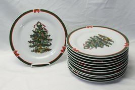 "Topco Ribbons and Tree Xmas Dinner Plates 10.5"" Set of 12 - $87.22"