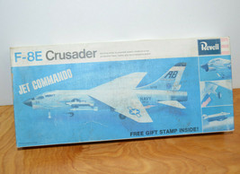 Vintage REVELL F-8E CRUSADER JET COMMANDO Model Kit 1967 Box No Decals - $19.74
