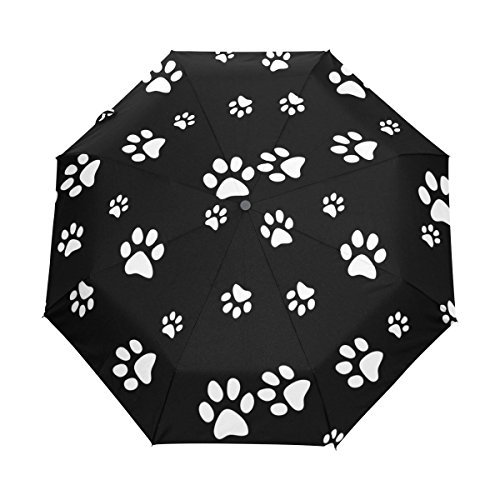 WOZO Black White Paw Print 3 Folds Auto Open Close Umbrella