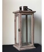 Rustic Wood Candle Lantern Large Candleholder Wedding Centerpiece - $21.87