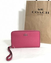 NWT Coach F58053 Zip Around Phone Wallet Wristlet Leather Magenta Pink  ... - $57.95