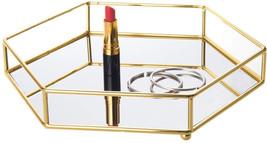 Feyarl Gold Hexagon Tray Ornate Cosmetic  Vanity Tray Mirrored Decorativ... - $61.18